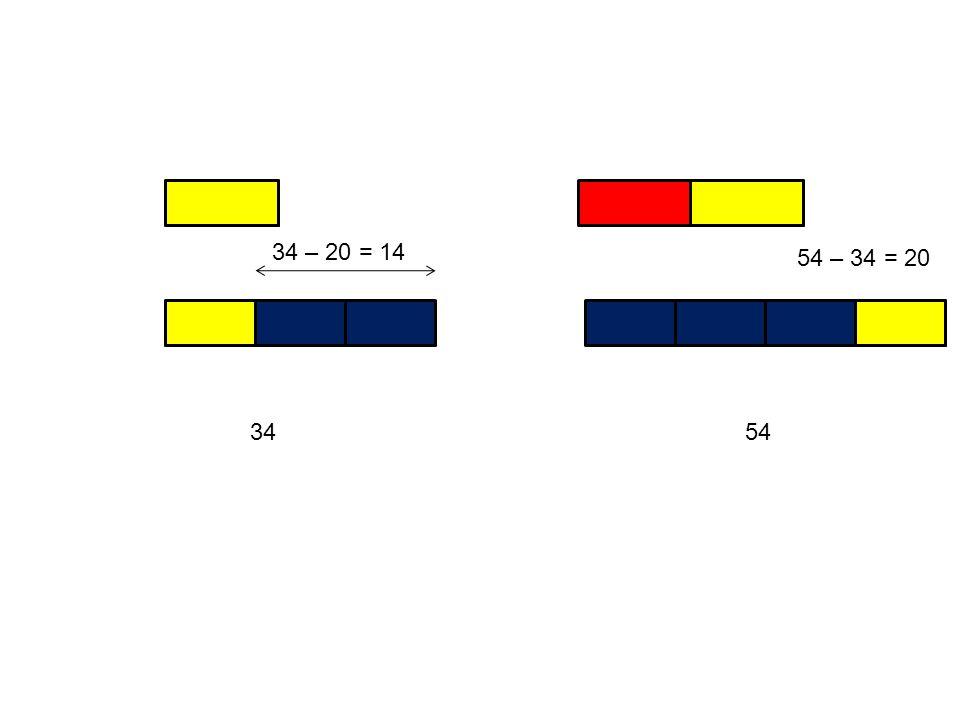34 54 – 34 = 20 34 – 20 = 14 54