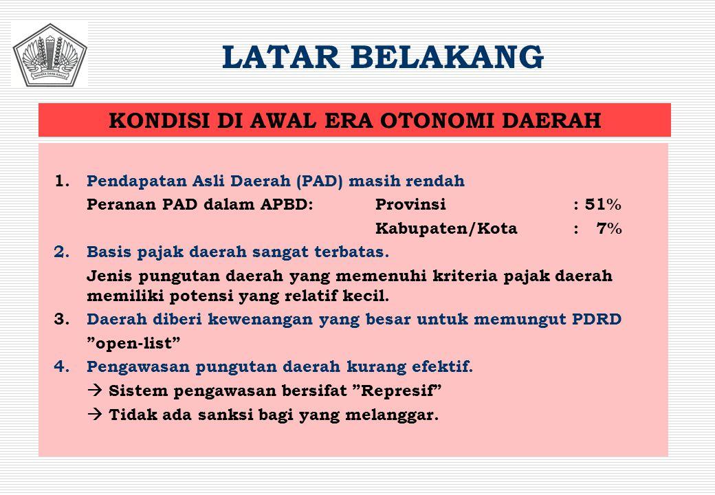 1.Pendapatan Asli Daerah (PAD) masih rendah Peranan PAD dalam APBD: Provinsi: 51% Kabupaten/Kota: 7% 2.Basis pajak daerah sangat terbatas. Jenis pungu