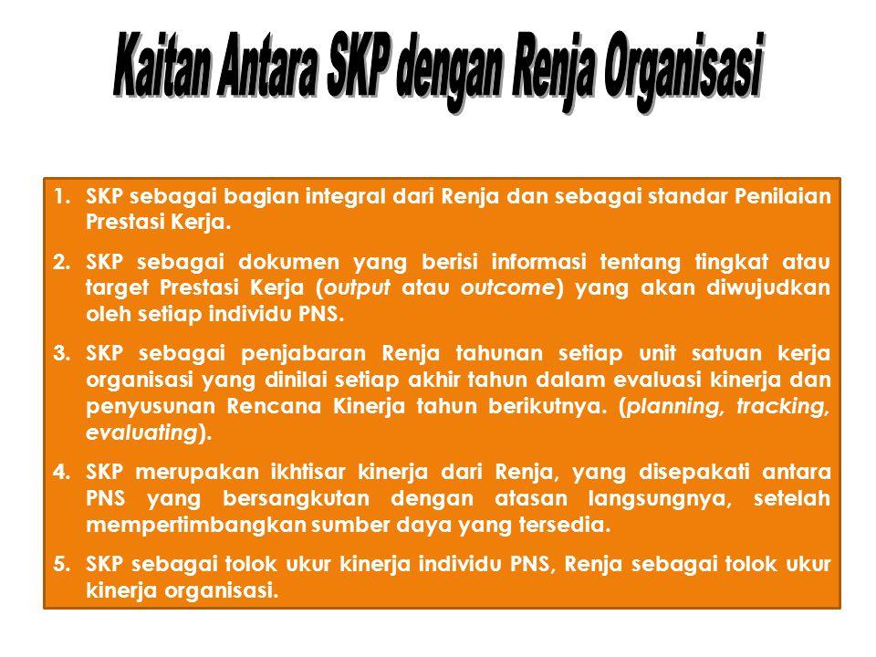 1.SKP sebagai bagian integral dari Renja dan sebagai standar Penilaian Prestasi Kerja.