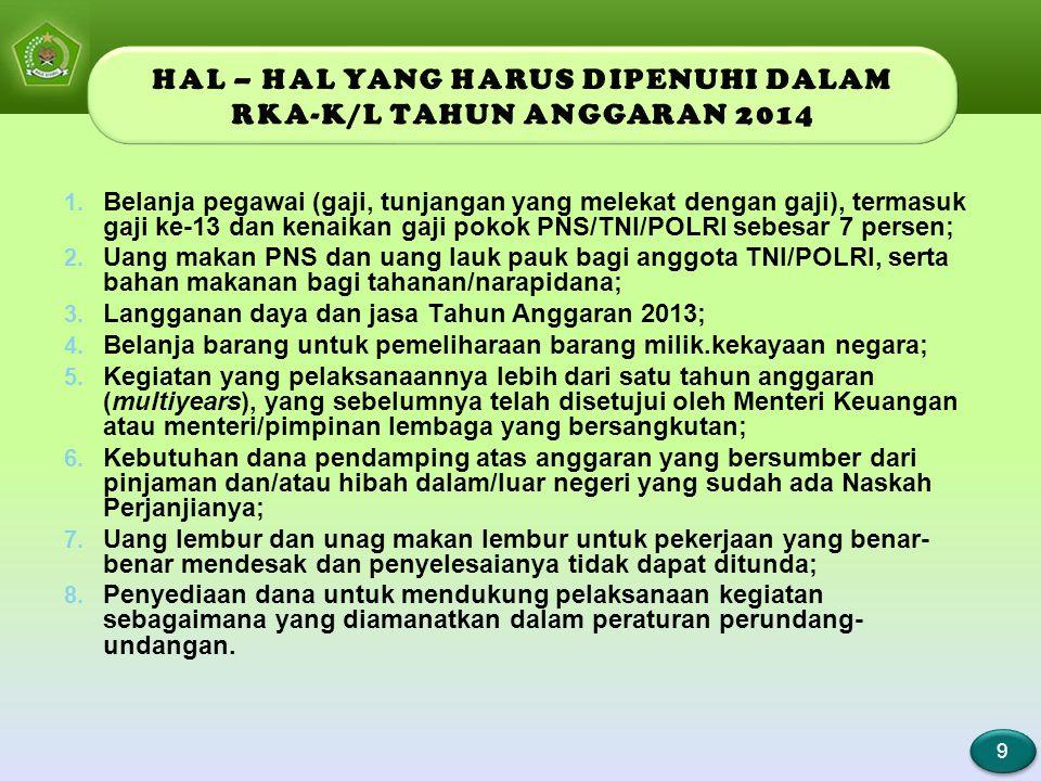 9 9 1. Belanja pegawai (gaji, tunjangan yang melekat dengan gaji), termasuk gaji ke-13 dan kenaikan gaji pokok PNS/TNI/POLRI sebesar 7 persen; 2. Uang