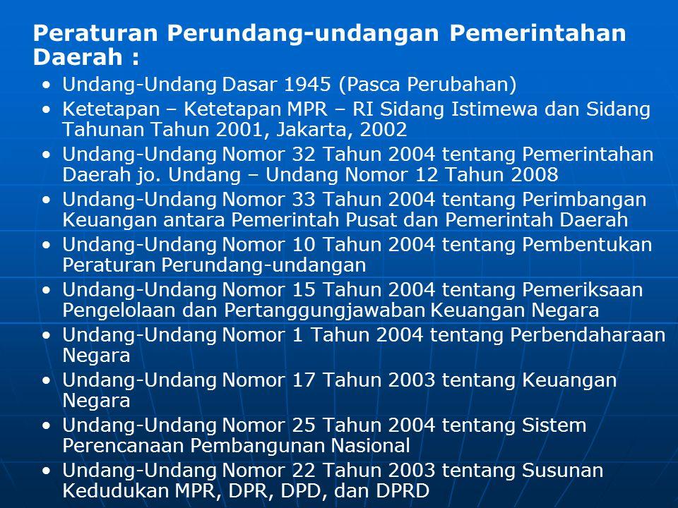 Peraturan Perundang-undangan Pemerintahan Daerah : • •Undang-Undang Dasar 1945 (Pasca Perubahan) • •Ketetapan – Ketetapan MPR – RI Sidang Istimewa dan