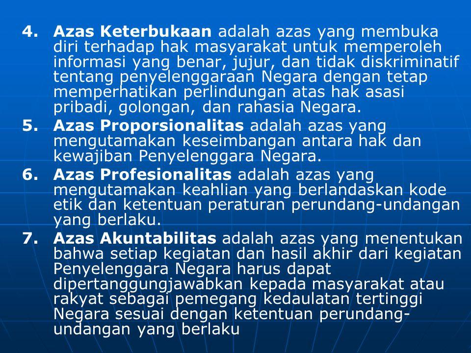 4.Azas Keterbukaan adalah azas yang membuka diri terhadap hak masyarakat untuk memperoleh informasi yang benar, jujur, dan tidak diskriminatif tentang