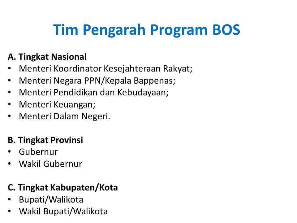 Tim Pengarah Program BOS A. Tingkat Nasional • Menteri Koordinator Kesejahteraan Rakyat; • Menteri Negara PPN/Kepala Bappenas; • Menteri Pendidikan da