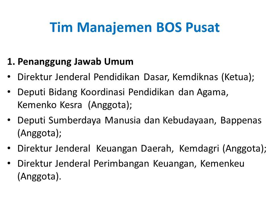Tim Manajemen BOS Pusat 1. Penanggung Jawab Umum • Direktur Jenderal Pendidikan Dasar, Kemdiknas (Ketua); • Deputi Bidang Koordinasi Pendidikan dan Ag