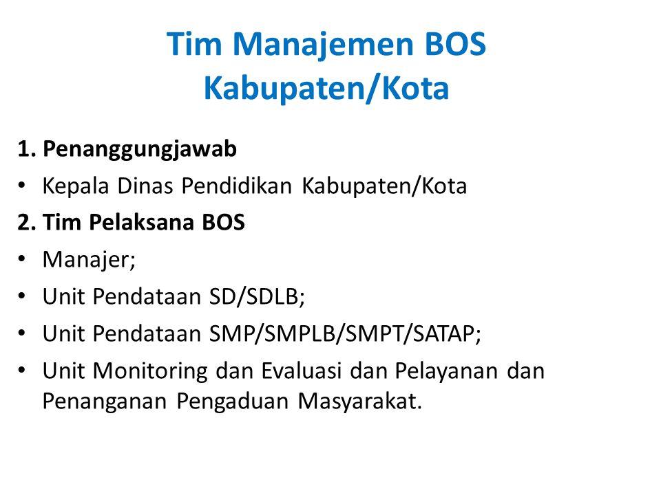 Tim Manajemen BOS Kabupaten/Kota 1. Penanggungjawab • Kepala Dinas Pendidikan Kabupaten/Kota 2. Tim Pelaksana BOS • Manajer; • Unit Pendataan SD/SDLB;