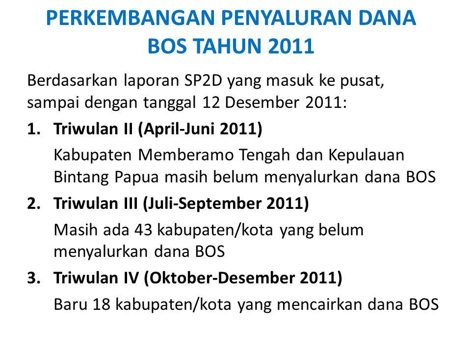 PERKEMBANGAN PENYALURAN DANA BOS TAHUN 2011 Berdasarkan laporan SP2D yang masuk ke pusat, sampai dengan tanggal 12 Desember 2011: 1.Triwulan II (April