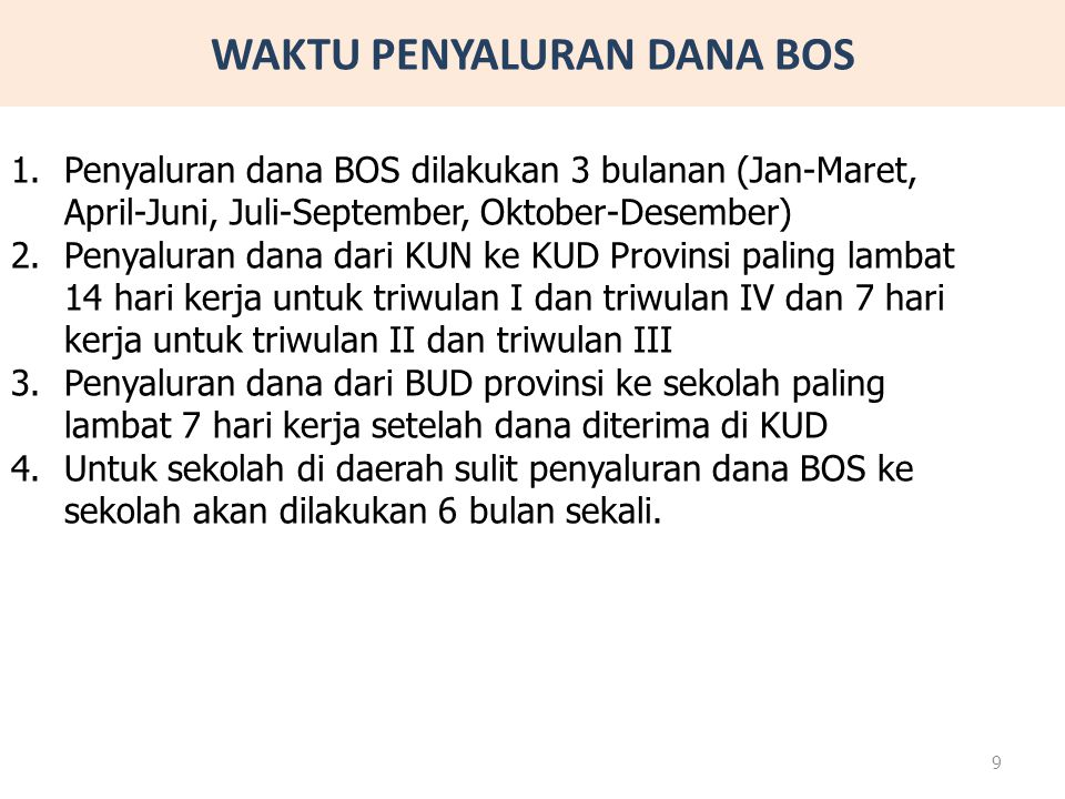 WAKTU PENYALURAN DANA BOS 1.Penyaluran dana BOS dilakukan 3 bulanan (Jan-Maret, April-Juni, Juli-September, Oktober-Desember) 2.Penyaluran dana dari K