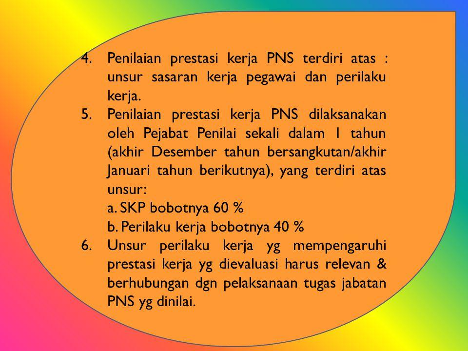 PENILAIAN PERILAKU KERJA 1.Nilai perilaku kerja PNS dinyatakan dengan angka dan keterangan sbb: a)91 – ke atas : Sangat baik b)76 – 90 : Baik c)61 – 75 : Cukup d)51 – 60 : Kurang e)50 – ke bawah : Buruk 2.