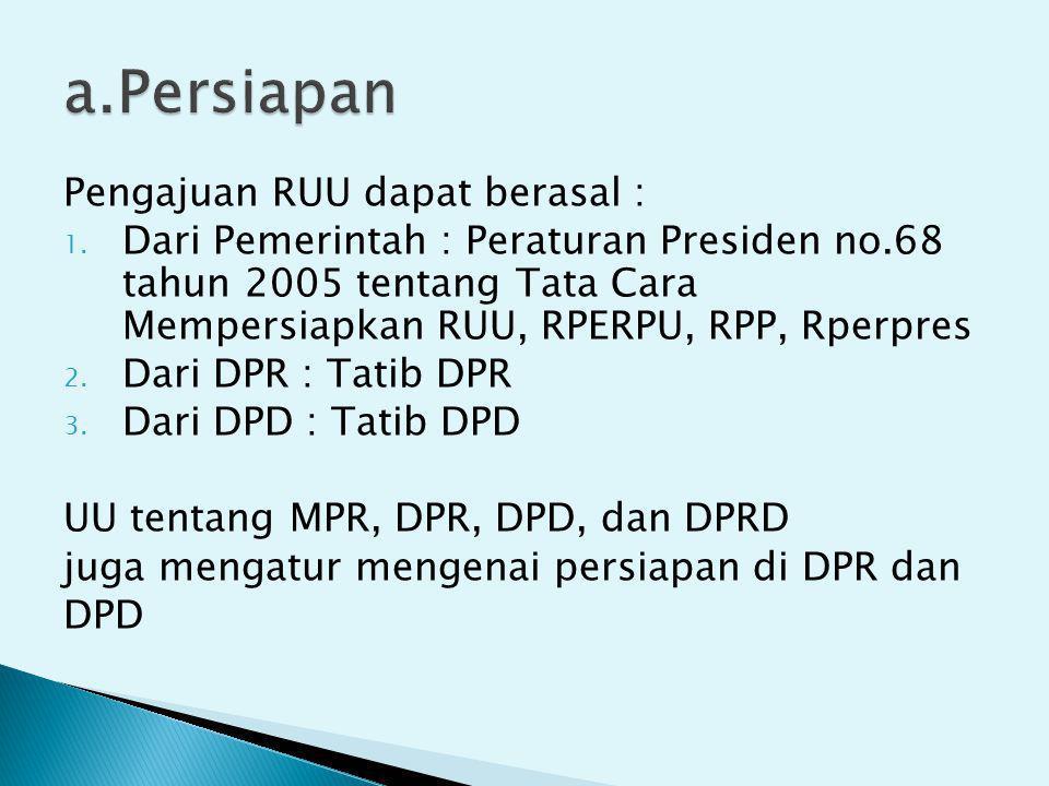 Pengajuan RUU dapat berasal : 1. Dari Pemerintah : Peraturan Presiden no.68 tahun 2005 tentang Tata Cara Mempersiapkan RUU, RPERPU, RPP, Rperpres 2. D