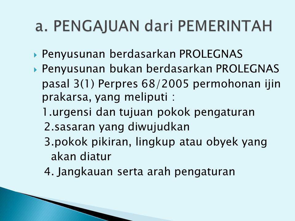  Penyusunan berdasarkan PROLEGNAS  Penyusunan bukan berdasarkan PROLEGNAS pasal 3(1) Perpres 68/2005 permohonan ijin prakarsa, yang meliputi : 1.urg