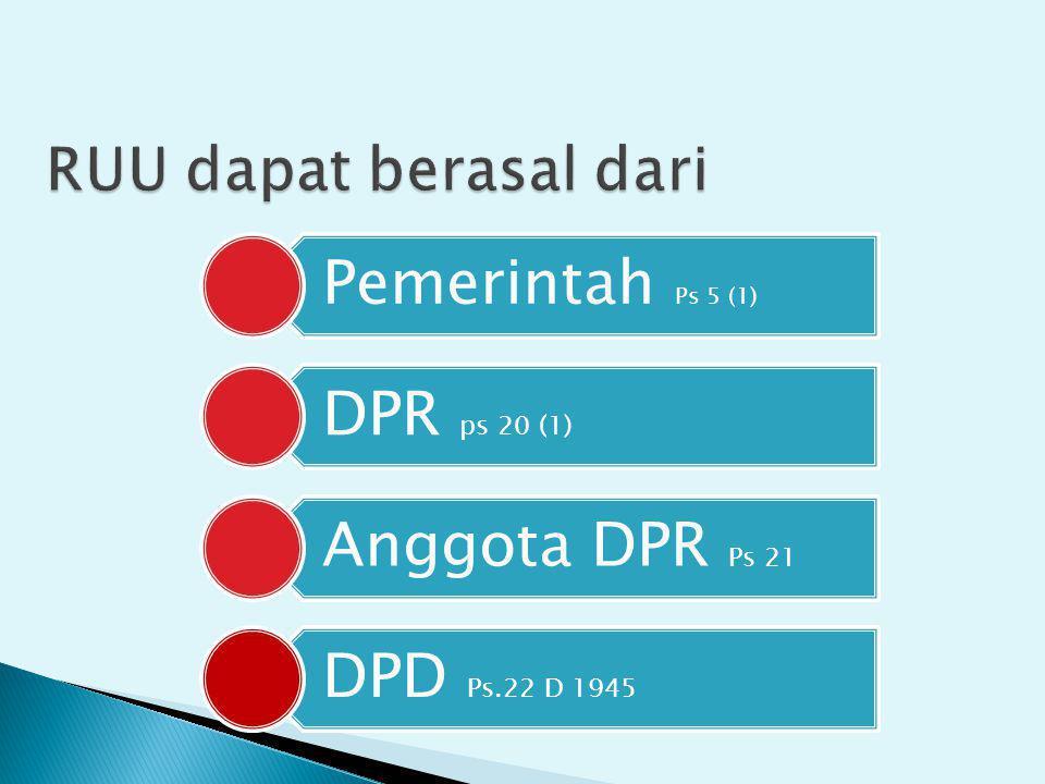 Pemerintah Ps 5 (1) DPR ps 20 (1) Anggota DPR Ps 21 DPD Ps.22 D 1945
