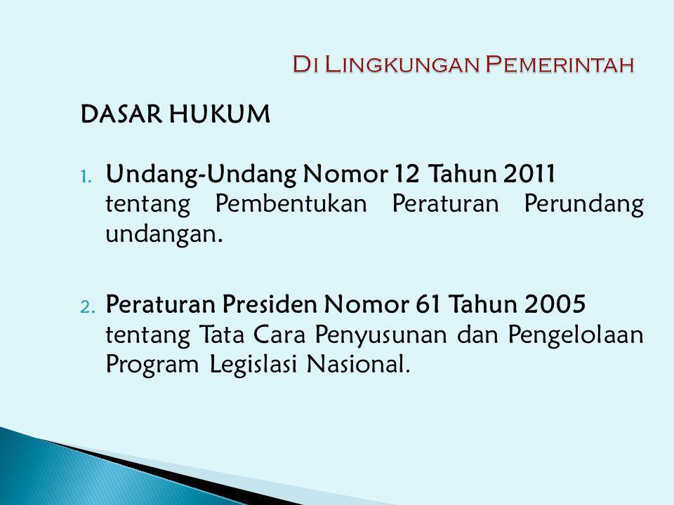 DASAR HUKUM 1. Undang-Undang Nomor 12 Tahun 2011 tentang Pembentukan Peraturan Perundang undangan. 2. Peraturan Presiden Nomor 61 Tahun 2005 tentang T