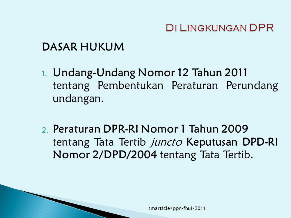 DASAR HUKUM 1. Undang-Undang Nomor 12 Tahun 2011 tentang Pembentukan Peraturan Perundang undangan. 2. Peraturan DPR-RI Nomor 1 Tahun 2009 tentang Tata