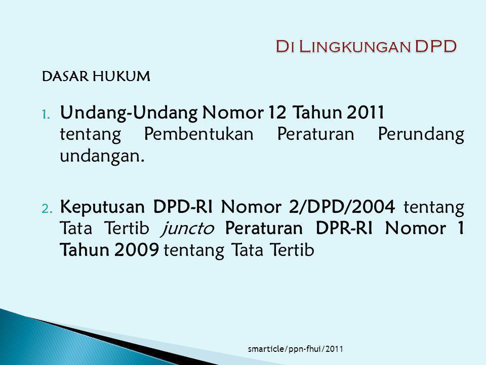 DASAR HUKUM 1. Undang-Undang Nomor 12 Tahun 2011 tentang Pembentukan Peraturan Perundang undangan. 2. Keputusan DPD-RI Nomor 2/DPD/2004 tentang Tata T