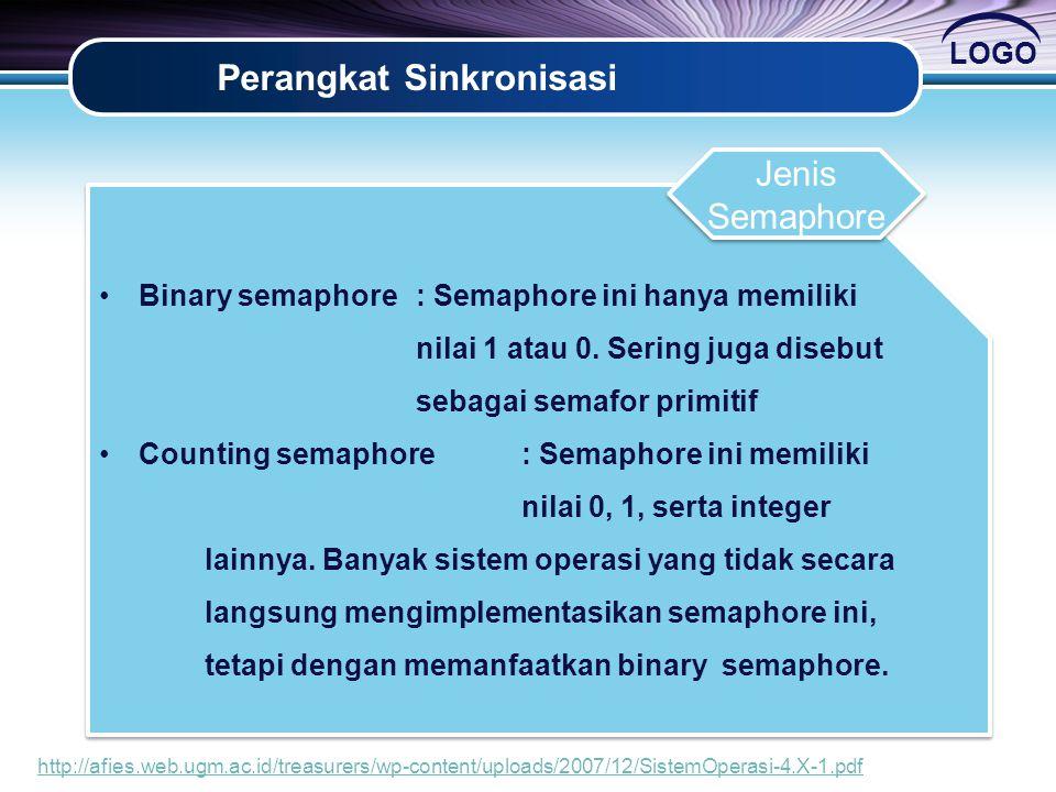 LOGO Perangkat Sinkronisasi •Binary semaphore: Semaphore ini hanya memiliki nilai 1 atau 0. Sering juga disebut sebagai semafor primitif •Counting sem