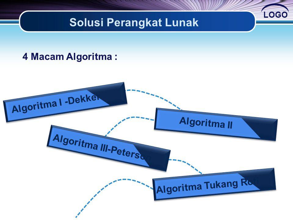 LOGO Solusi Perangkat Lunak Algoritma I -Dekker Algoritma II Algoritma III-Peterson Algoritma Tukang Roti 4 Macam Algoritma :