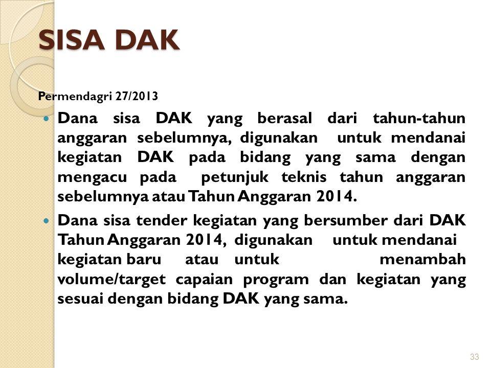 SISA DAK Permendagri 27/2013  Dana sisa DAK yang berasal dari tahun-tahun anggaran sebelumnya, digunakan untuk mendanai kegiatan DAK pada bidang yang