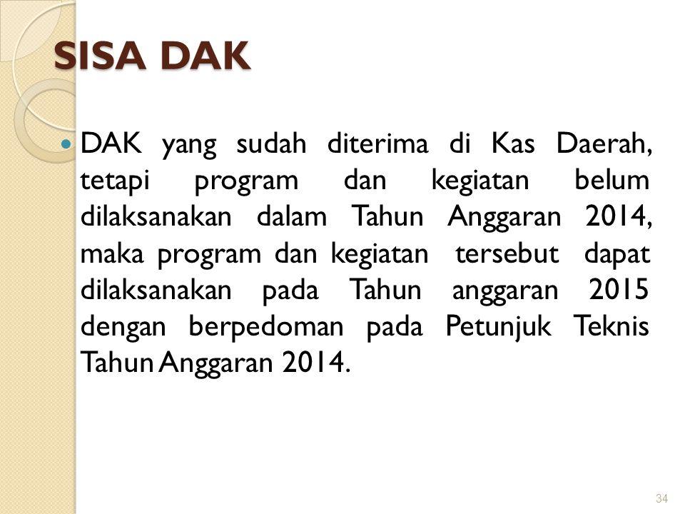 SISA DAK  DAK yang sudah diterima di Kas Daerah, tetapi program dan kegiatan belum dilaksanakan dalam Tahun Anggaran 2014, maka program dan kegiatan