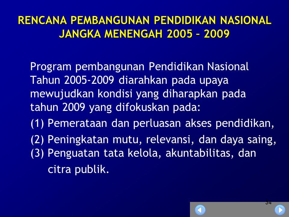 34 RENCANA PEMBANGUNAN PENDIDIKAN NASIONAL JANGKA MENENGAH 2005 – 2009 Program pembangunan Pendidikan Nasional Tahun 2005-2009 diarahkan pada upaya mewujudkan kondisi yang diharapkan pada tahun 2009 yang difokuskan pada: (1) Pemerataan dan perluasan akses pendidikan, (2) Peningkatan mutu, relevansi, dan daya saing, (3) Penguatan tata kelola, akuntabilitas, dan citra publik.