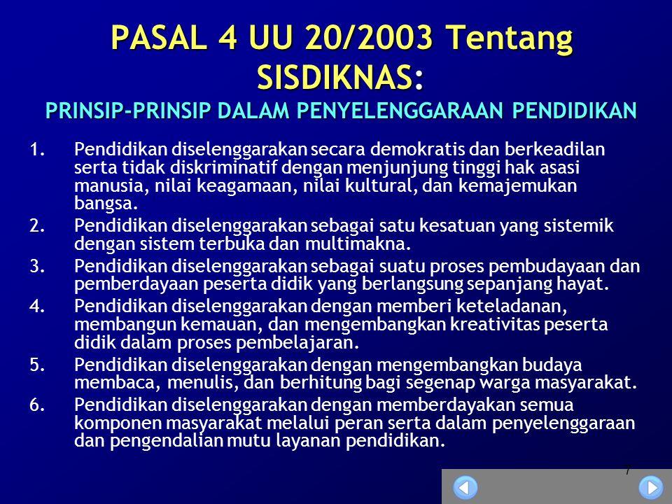 7 PASAL 4 UU 20/2003 Tentang SISDIKNAS: PRINSIP-PRINSIP DALAM PENYELENGGARAAN PENDIDIKAN 1.Pendidikan diselenggarakan secara demokratis dan berkeadilan serta tidak diskriminatif dengan menjunjung tinggi hak asasi manusia, nilai keagamaan, nilai kultural, dan kemajemukan bangsa.