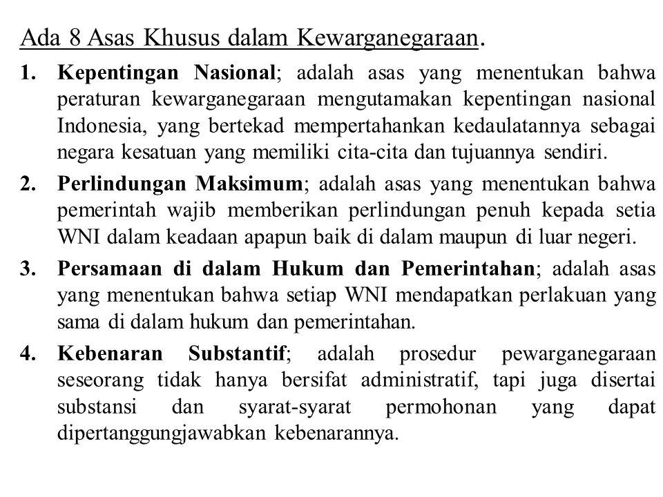 Anak yang berkewarganegaraan ganda wajib didaftarkan oleh orangtua atau walinya pada kantor imigrasi atau Perwakilan Indonesia yang wilayah kerjanya meliputi tempat tinggal anak.