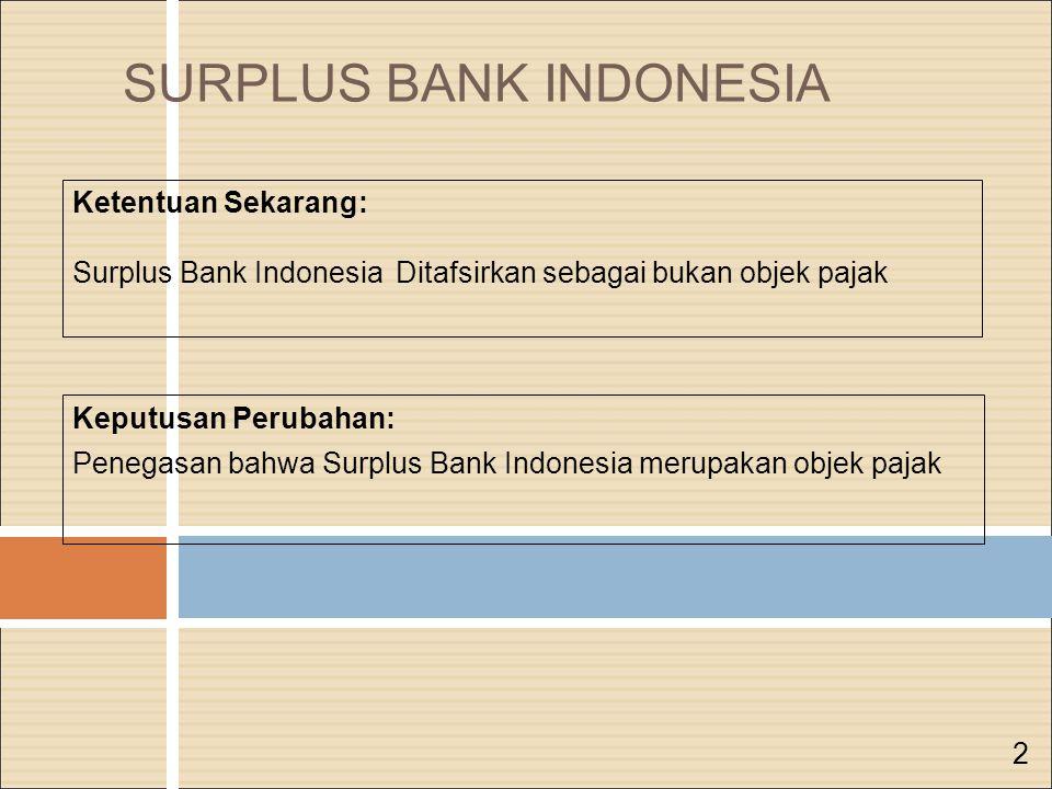 SURPLUS BANK INDONESIA Keputusan Perubahan: Penegasan bahwa Surplus Bank Indonesia merupakan objek pajak Ketentuan Sekarang: Surplus Bank Indonesia Ditafsirkan sebagai bukan objek pajak 2