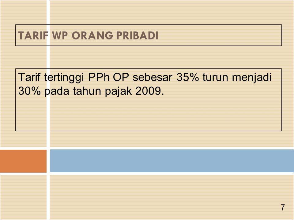 Tarif tertinggi PPh OP sebesar 35% turun menjadi 30% pada tahun pajak 2009. 7