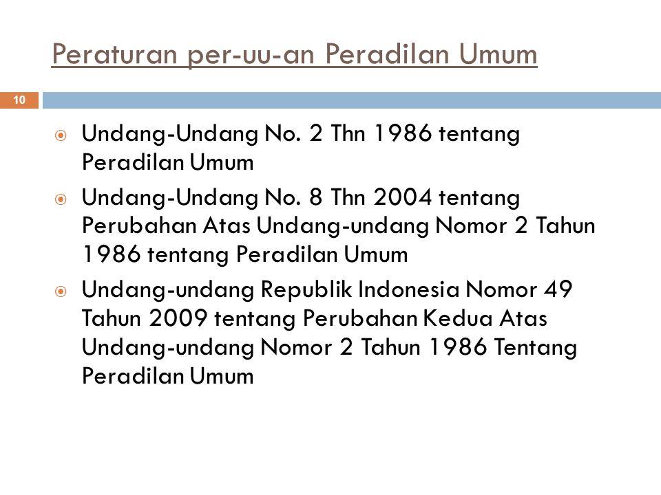 Peraturan per-uu-an Peradilan Umum 10  Undang-Undang No.