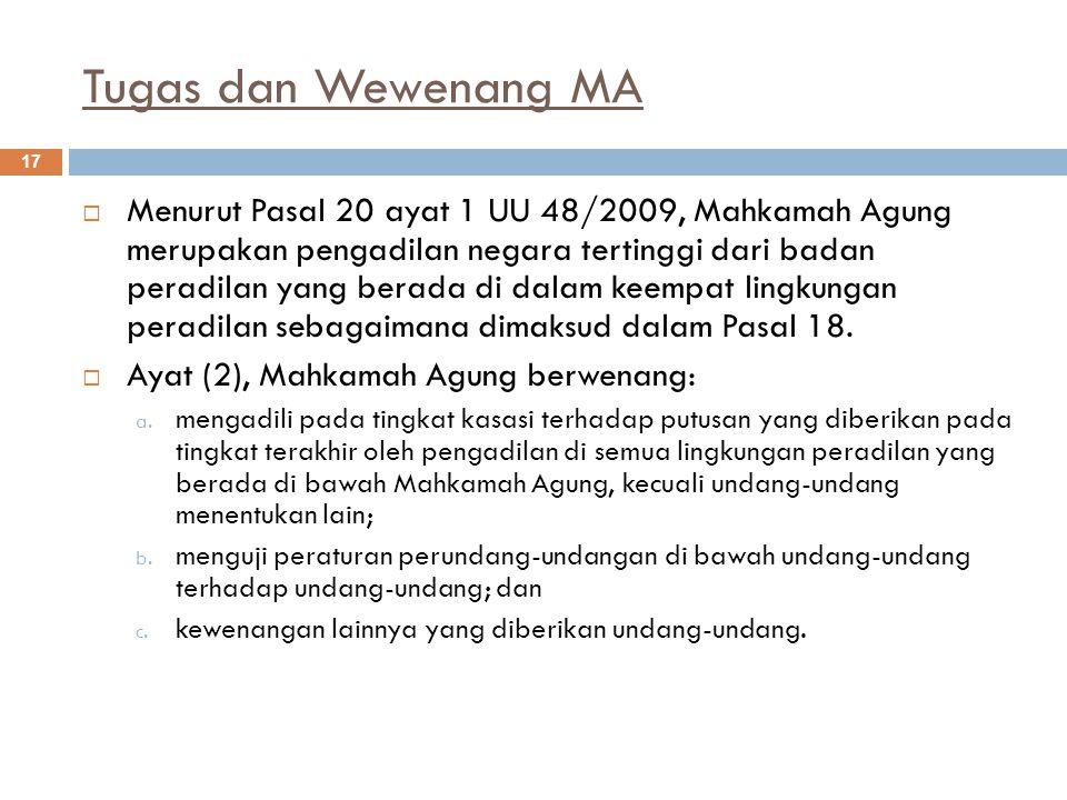 Tugas dan Wewenang MA 17  Menurut Pasal 20 ayat 1 UU 48/2009, Mahkamah Agung merupakan pengadilan negara tertinggi dari badan peradilan yang berada di dalam keempat lingkungan peradilan sebagaimana dimaksud dalam Pasal 18.