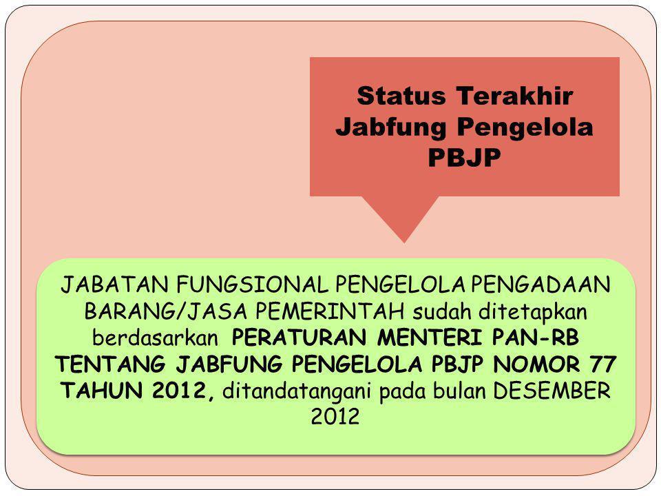JABATAN FUNGSIONAL PENGELOLA PENGADAAN BARANG/JASA PEMERINTAH sudah ditetapkan berdasarkan PERATURAN MENTERI PAN-RB TENTANG JABFUNG PENGELOLA PBJP NOMOR 77 TAHUN 2012, ditandatangani pada bulan DESEMBER 2012 Status Terakhir Jabfung Pengelola PBJP