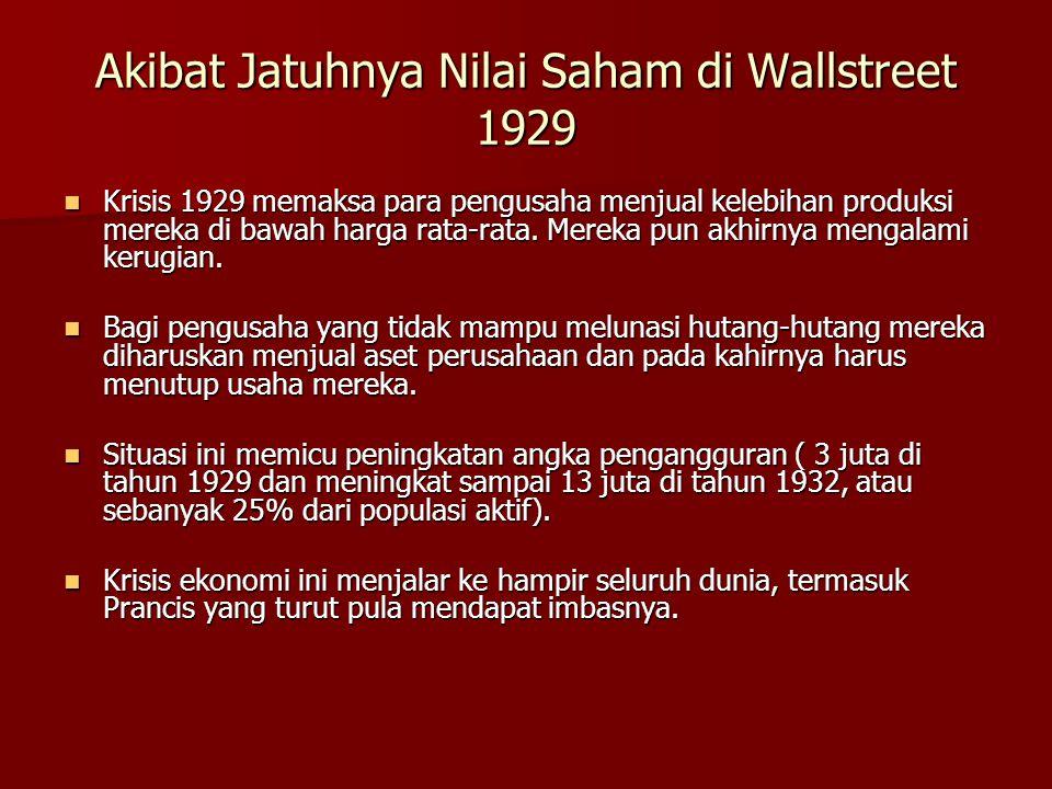 Akibat Jatuhnya Nilai Saham di Wallstreet 1929  Krisis 1929 memaksa para pengusaha menjual kelebihan produksi mereka di bawah harga rata-rata. Mereka
