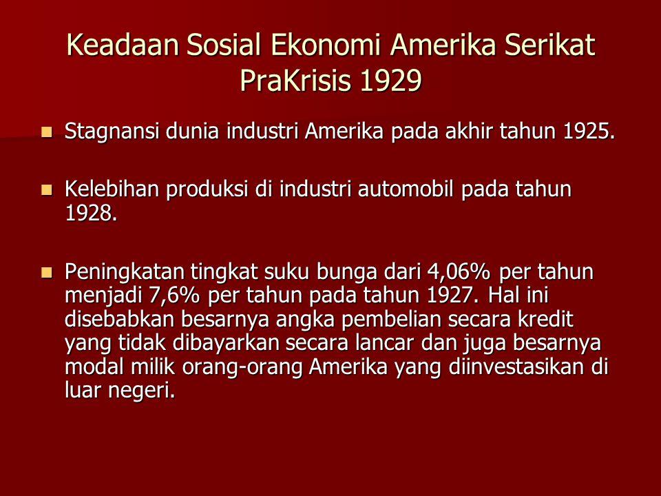 Keadaan Sosial Ekonomi Amerika Serikat PraKrisis 1929  Stagnansi dunia industri Amerika pada akhir tahun 1925.  Kelebihan produksi di industri autom