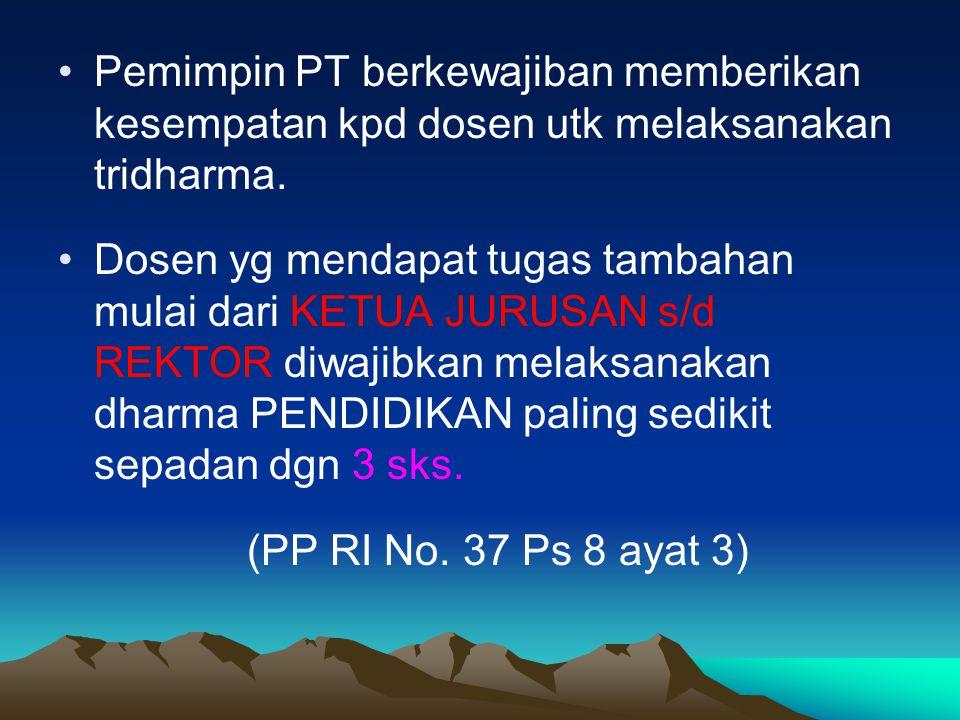 4.Kesimpulan : memenuhi syarat (M), tdk memenuhi syarat (T) Kriteria M adalah sebagai berikut: • Utk Dosen Biasa (DS), jlh dlm 1 thn pd+pl > 18 sks, pg+pk > 6 sks dan keseluruhan tidak melebihi 32 sks.