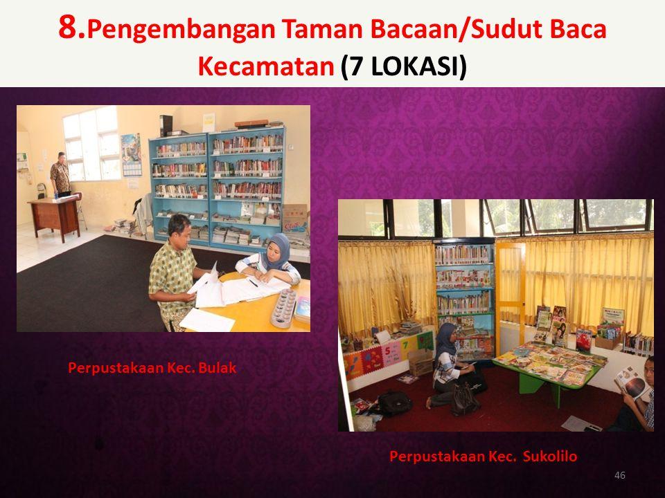 8. Pengembangan Taman Bacaan/Sudut Baca Kecamatan (7 LOKASI) 46 Perpustakaan Kec. Bulak Perpustakaan Kec. Sukolilo