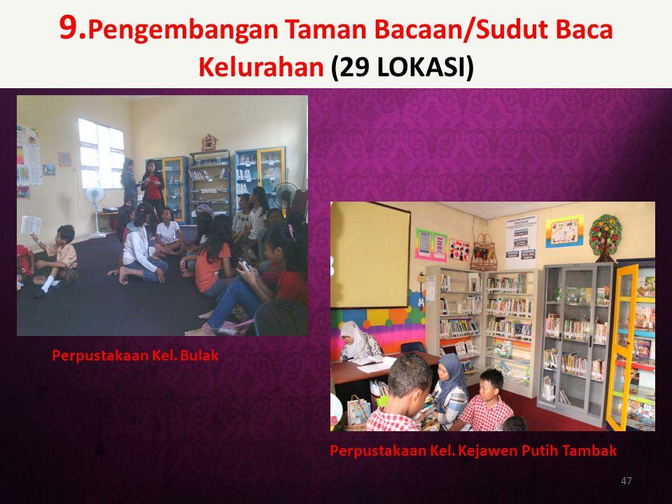 9. Pengembangan Taman Bacaan/Sudut Baca Kelurahan (29 LOKASI) 47 Perpustakaan Kel. Bulak Perpustakaan Kel. Kejawen Putih Tambak