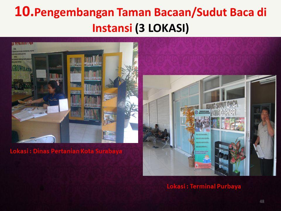 10. Pengembangan Taman Bacaan/Sudut Baca di Instansi (3 LOKASI) 48 Lokasi : Dinas Pertanian Kota Surabaya Lokasi : Terminal Purbaya