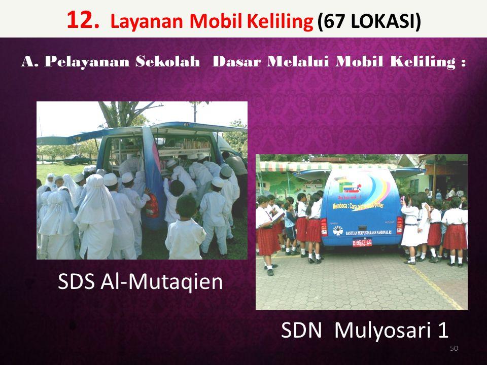 12. Layanan Mobil Keliling (67 LOKASI) 50 A. Pelayanan Sekolah Dasar Melalui Mobil Keliling : SDS Al-Mutaqien SDN Mulyosari 1