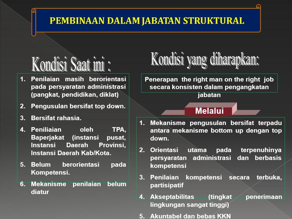 1.Penilaian masih berorientasi pada persyaratan administrasi (pangkat, pendidikan, diklat) 2.Pengusulan bersifat top down.