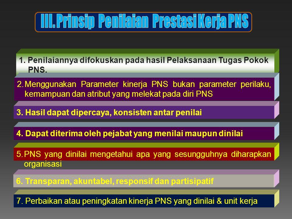 1.Penilaiannya difokuskan pada hasil Pelaksanaan Tugas Pokok PNS.