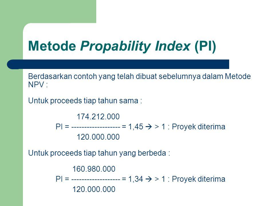 Metode Propability Index (PI) Berdasarkan contoh yang telah dibuat sebelumnya dalam Metode NPV : Untuk proceeds tiap tahun sama : 174.212.000 PI = ---