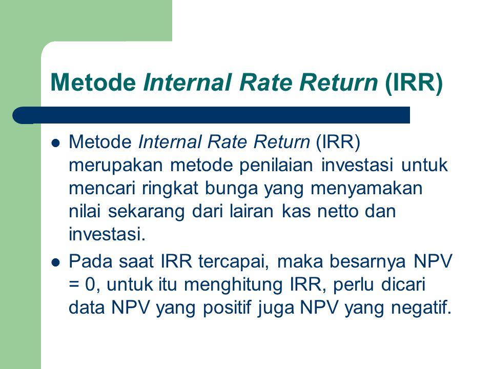 Metode Internal Rate Return (IRR)  Metode Internal Rate Return (IRR) merupakan metode penilaian investasi untuk mencari ringkat bunga yang menyamakan