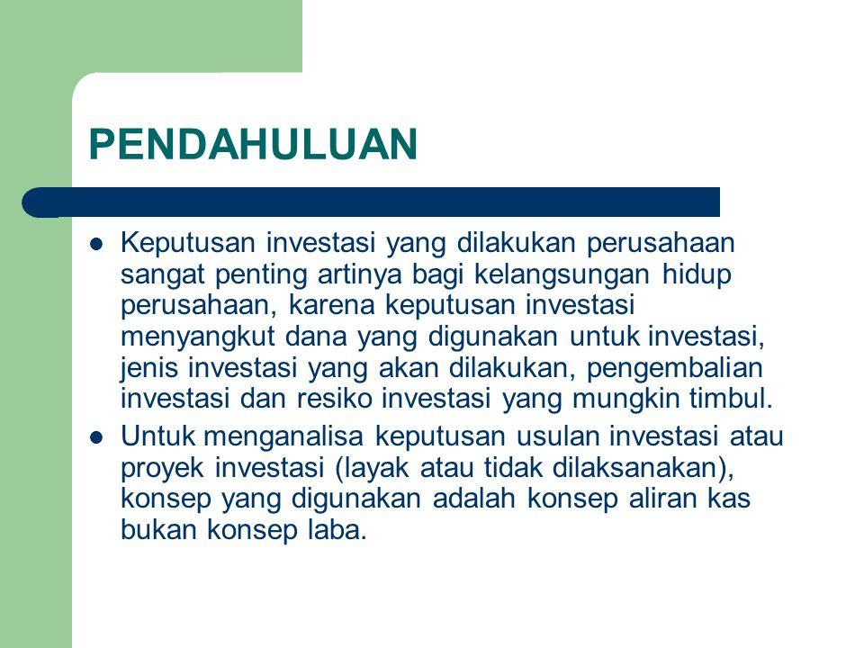 PENDAHULUAN  Keputusan investasi yang dilakukan perusahaan sangat penting artinya bagi kelangsungan hidup perusahaan, karena keputusan investasi meny