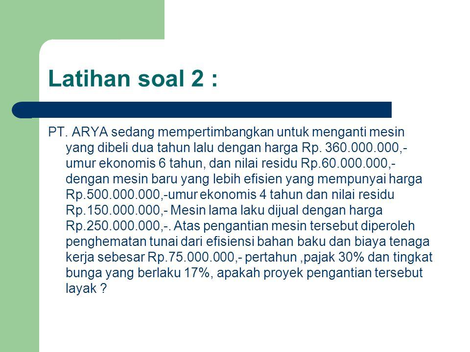 Latihan soal 2 : PT. ARYA sedang mempertimbangkan untuk menganti mesin yang dibeli dua tahun lalu dengan harga Rp. 360.000.000,- umur ekonomis 6 tahun