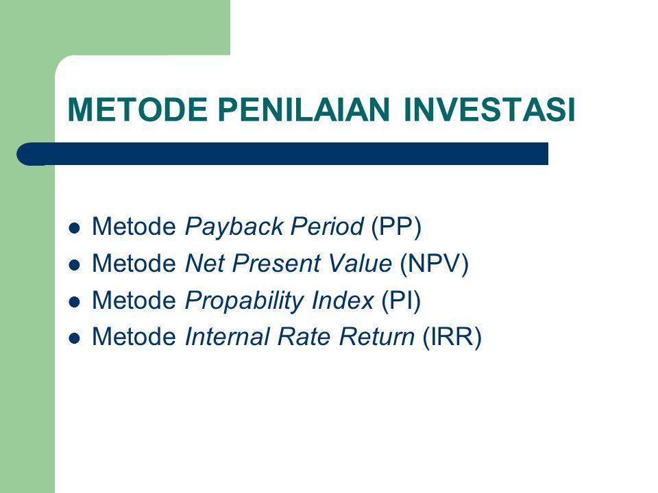 Metode Propability Index (PI) Berdasarkan contoh yang telah dibuat sebelumnya dalam Metode NPV : Untuk proceeds tiap tahun sama : 174.212.000 PI = ------------------- = 1,45  > 1 : Proyek diterima 120.000.000 Untuk proceeds tiap tahun yang berbeda : 160.980.000 PI = ------------------- = 1,34  > 1 : Proyek diterima 120.000.000