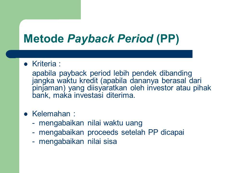 Metode Internal Rate Return (IRR) Rumus : NPV rk IRR = rk + ------------------------- x (rb – rk) PV rk – PV rb Dimana : IRR = internal rate of return Rk = tingkat bunga terendah Rb = tingkat bunga tertinggi NPV rk = NPV pada tingkat bunga terendah PV rk = PV of proceed pada tingkat bunga terendah PV rb = PV of proceed pada tingkat bunga tertinggi