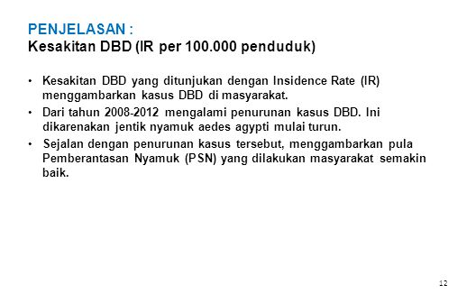 PENJELASAN : Kesakitan DBD (IR per 100.000 penduduk) •Kesakitan DBD yang ditunjukan dengan Insidence Rate (IR) menggambarkan kasus DBD di masyarakat.