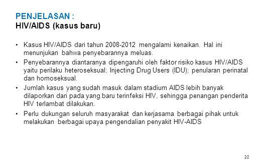 PENJELASAN : HIV/AIDS (kasus baru) •Kasus HIV/AIDS dari tahun 2008-2012 mengalami kenaikan. Hal ini menunjukan bahwa penyebarannya meluas. •Penyebaran
