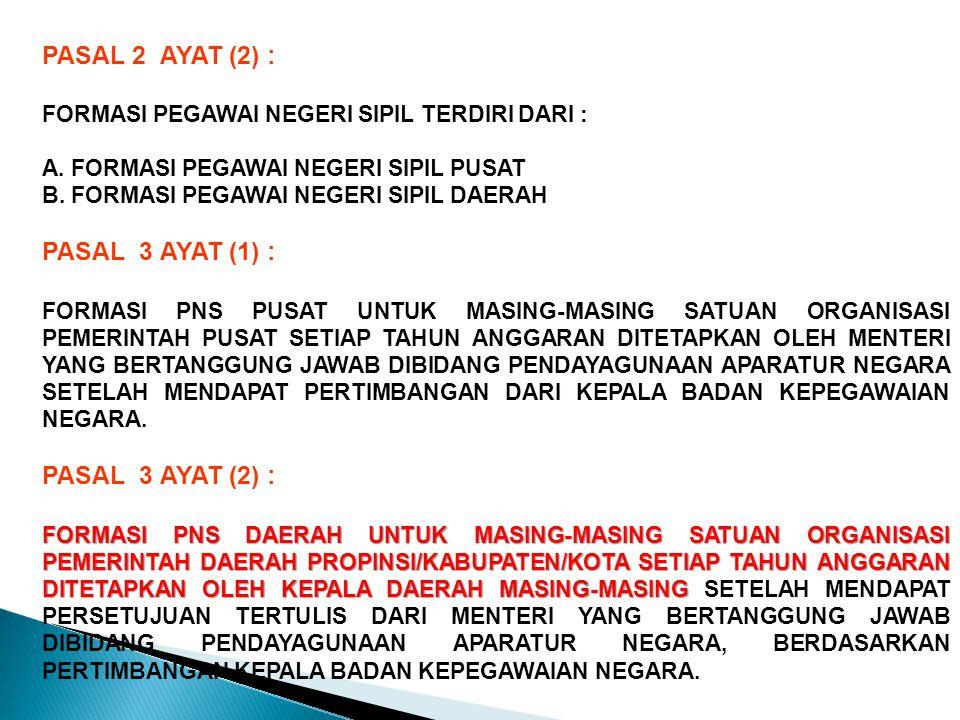 PASAL 2 AYAT (2) : FORMASI PEGAWAI NEGERI SIPIL TERDIRI DARI : A.
