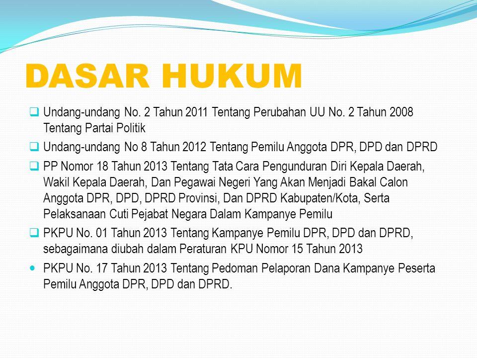 DASAR HUKUM  Undang-undang No. 2 Tahun 2011 Tentang Perubahan UU No. 2 Tahun 2008 Tentang Partai Politik  Undang-undang No 8 Tahun 2012 Tentang Pemi