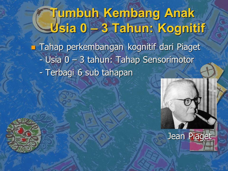 n Tahap perkembangan kognitif dari Piaget - Usia 0 – 3 tahun: Tahap Sensorimotor - Terbagi 6 sub tahapan Jean Piaget Tumbuh Kembang Anak Usia 0 – 3 Tahun: Kognitif